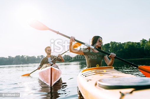istock Enjoying nice day on the lake. 610864612