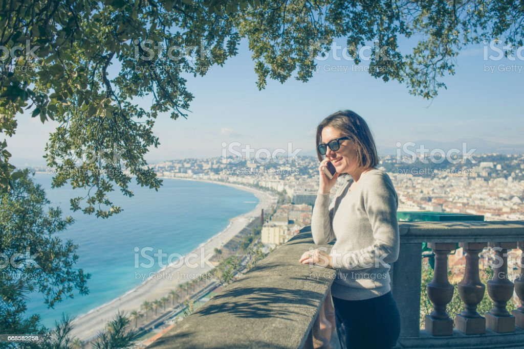 Enjoying Nice in South of France and Mediterranean Views stock photo