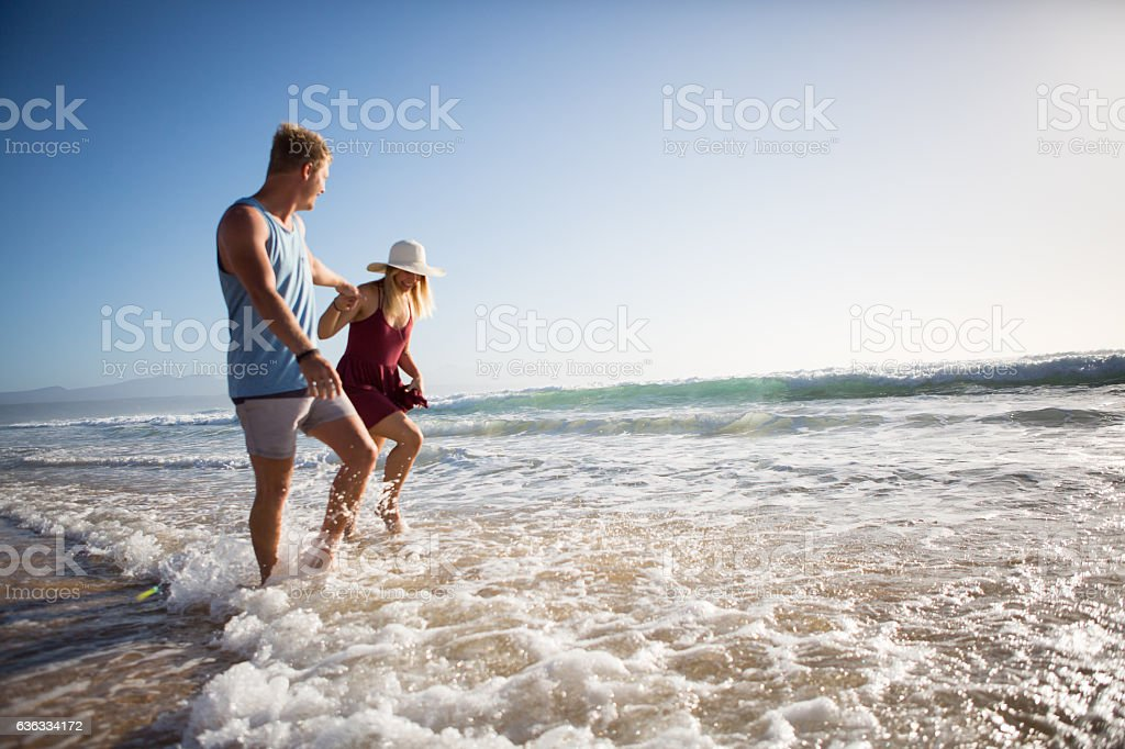 Enjoying our seaside vacation stock photo