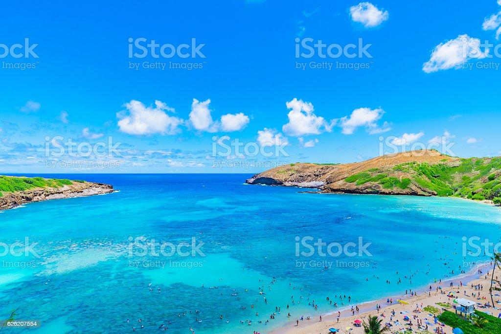 Enjoying Paradise in Hawaii at Hanauma Bay stock photo
