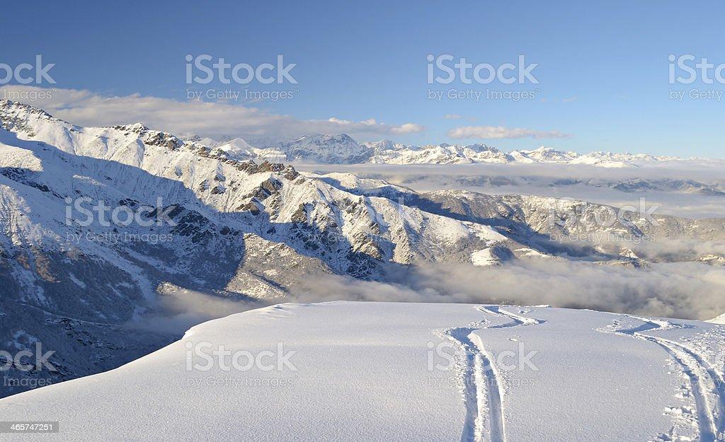 Enjoying powder snow stock photo