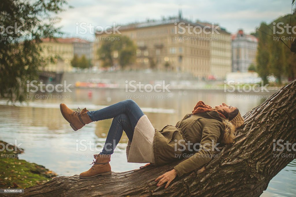 Enjoying Prague foto royalty-free
