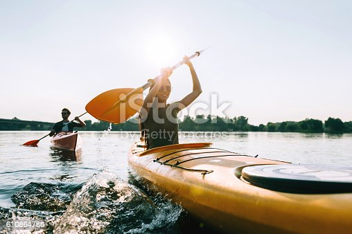 istock Enjoying river adventure together. 610864786
