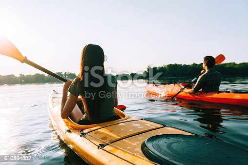 istock Enjoying river adventure together. 610864832