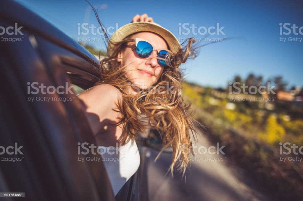 Enjoying roadtrip and having fun stock photo