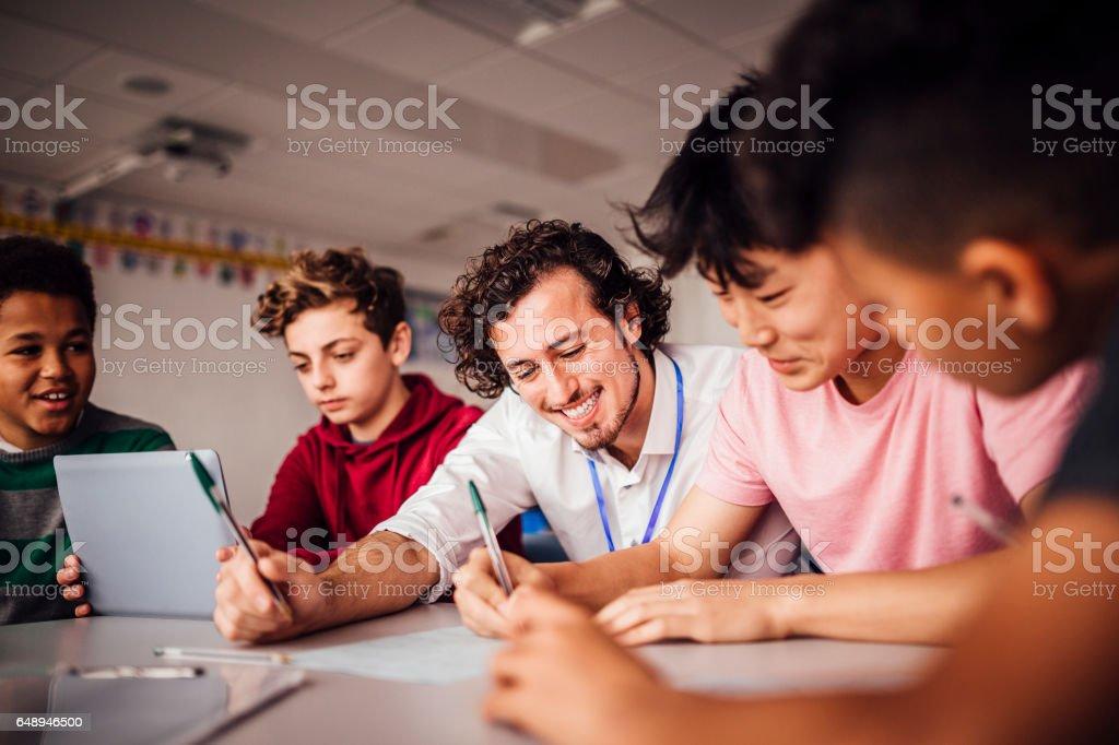 Enjoying School Work Together stock photo