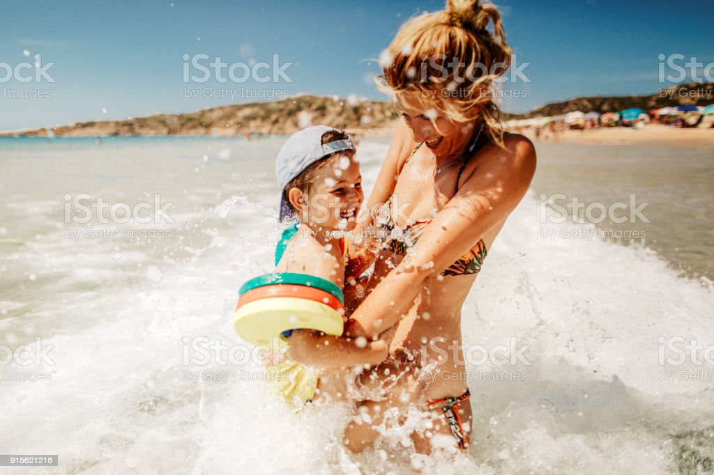 Enjoying sea water stock photo