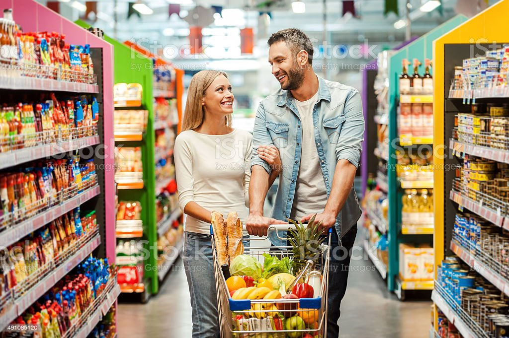 Enjoying shopping together. stock photo