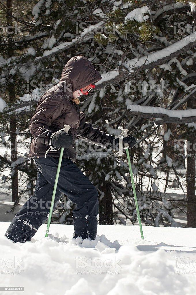 Enjoying snowshoeing royalty-free stock photo