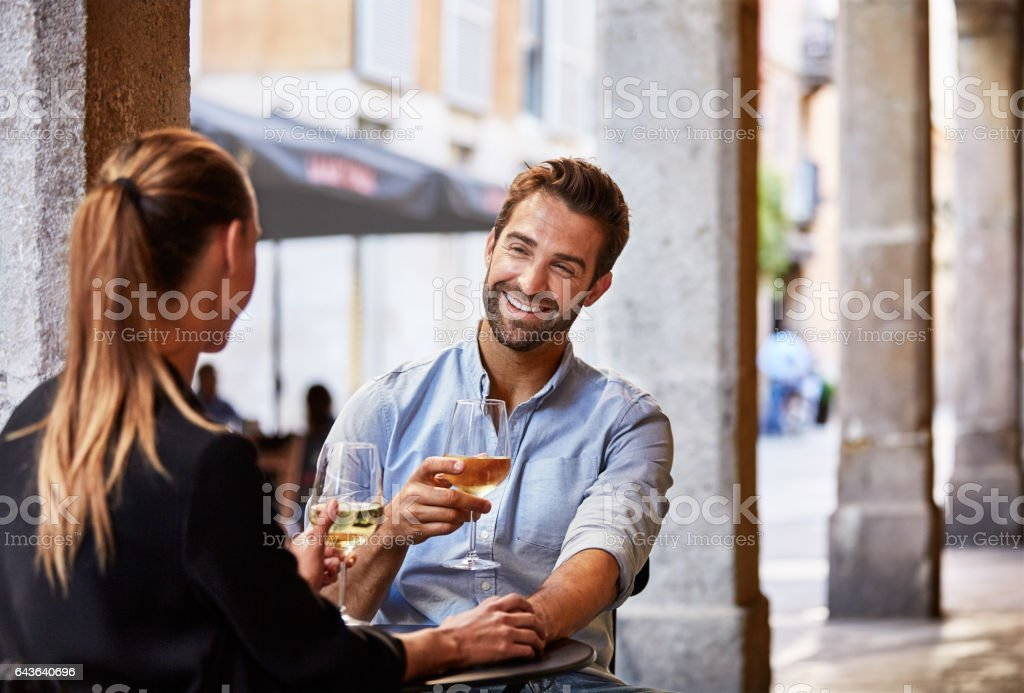Enjoying some fine wine in the city stock photo