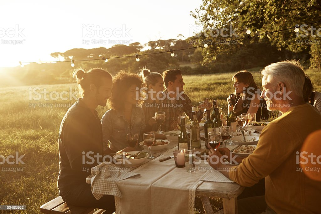 Enjoying some time with friends stock photo