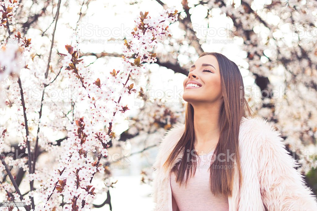 Enjoying spring stock photo