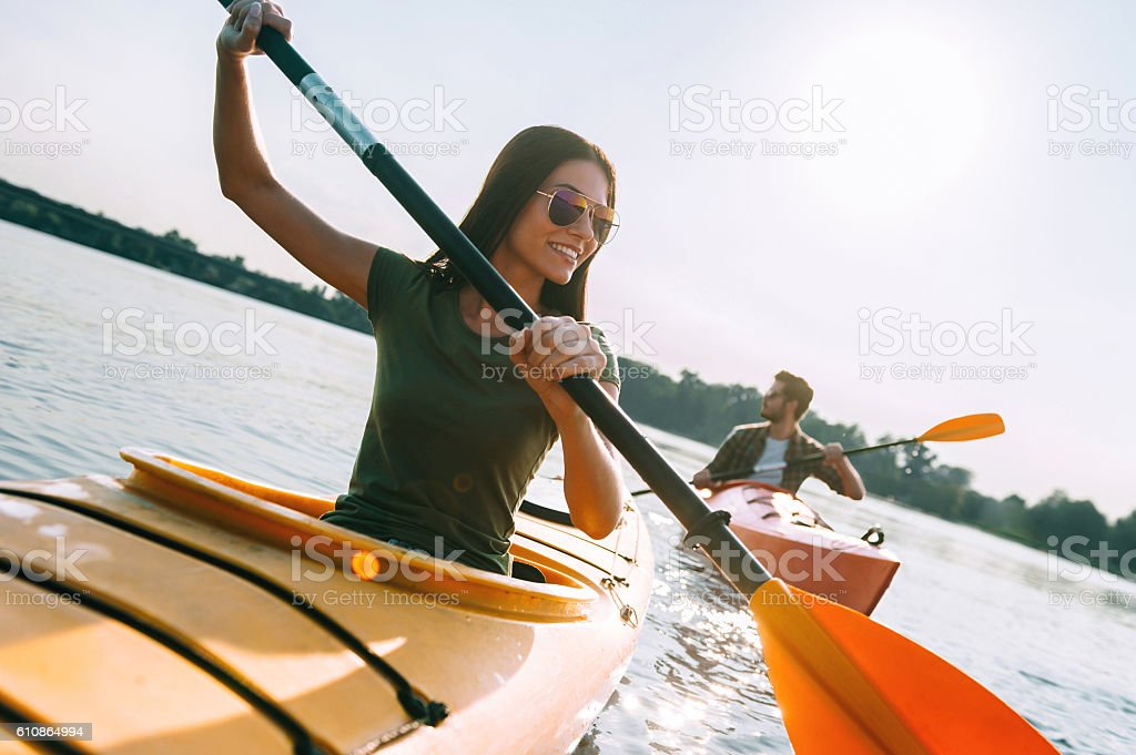 Enjoying summer day on the lake. stock photo