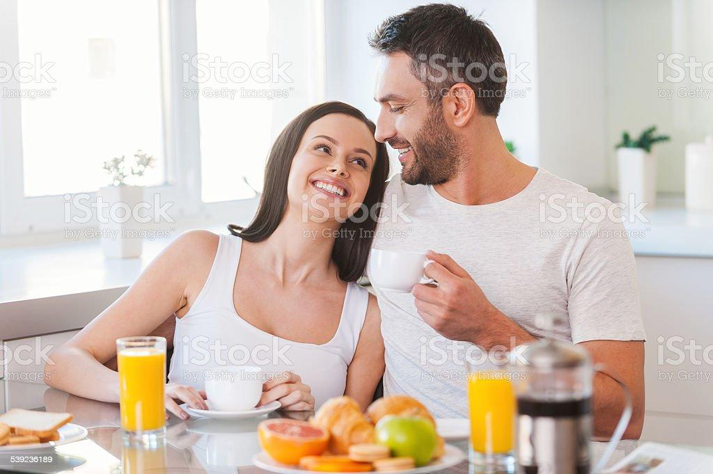 Enjoying Sunday morning together. royalty-free stock photo