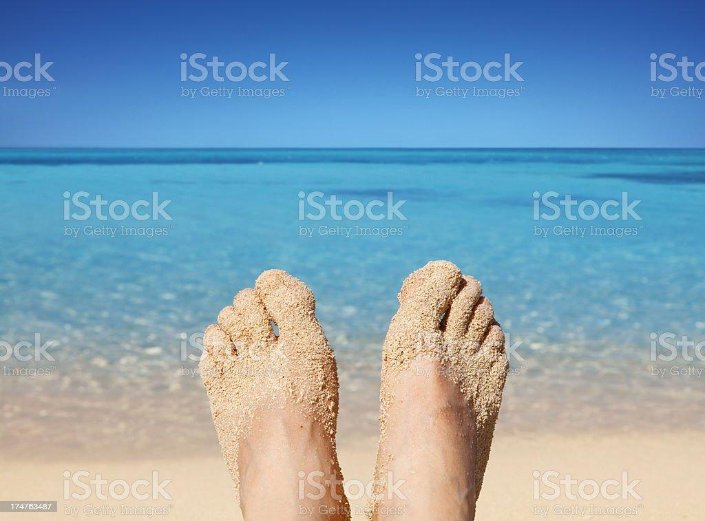 Enjoying sunny beach stock photo