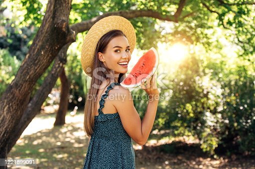 Enjoying sunny day wile eating watermelon