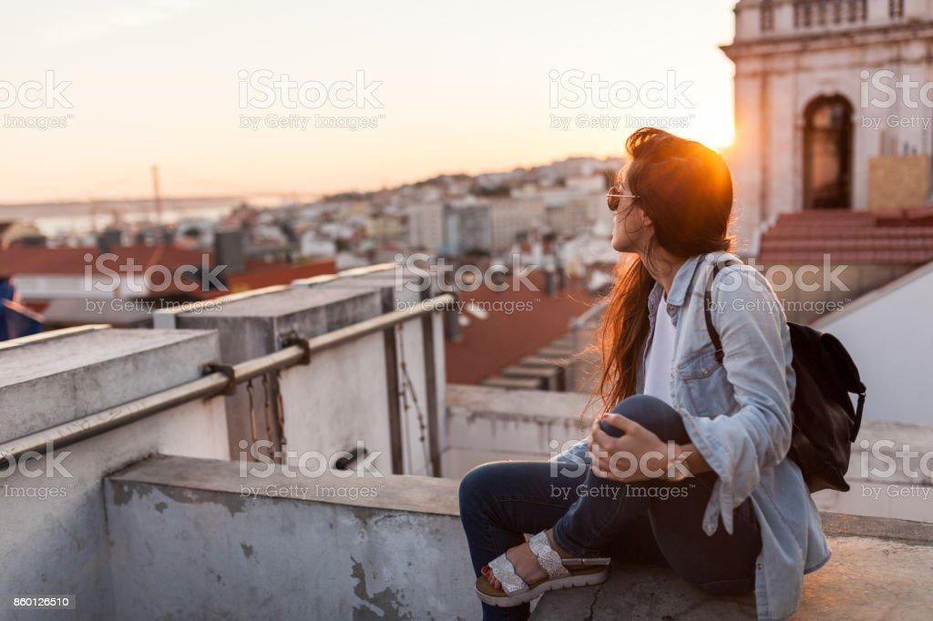 Enjoying Sunset in Lisbon stock photo