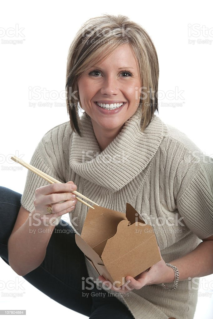 Enjoying takeout stock photo