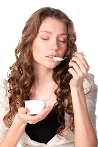 Enjoying Taste Of Yogurt Stock Photo - Download Image Now