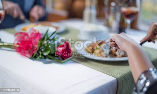 Enjoying tasty food on romantic meeting