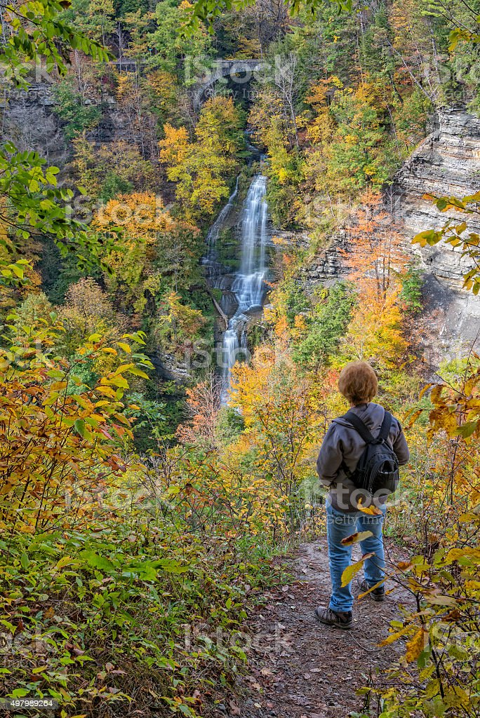 Enjoying The Autumn Colors Of Letchworth State Park stock photo