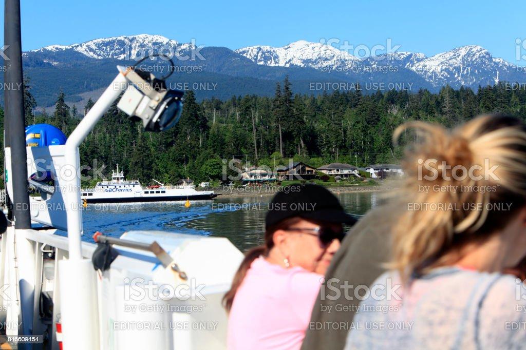 Enjoying The BC Ferries In Springtime stock photo