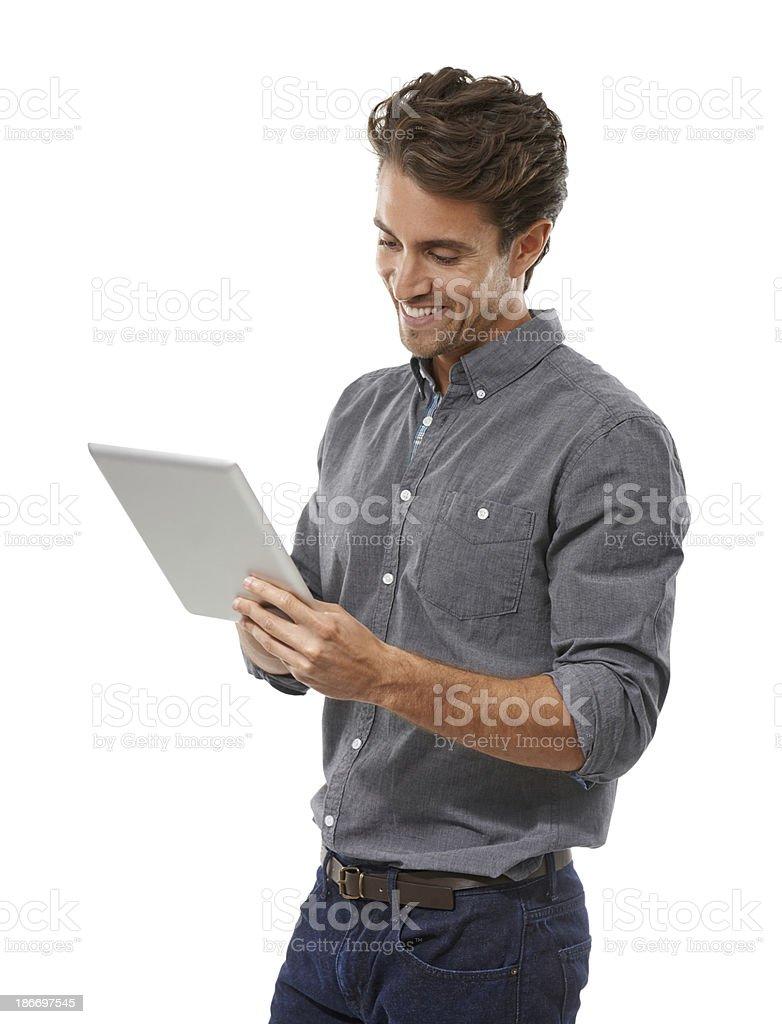 Enjoying the benefits of tablet technology stock photo