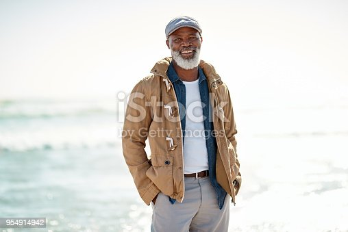 Portrait of a mature man enjoying a day at the beach