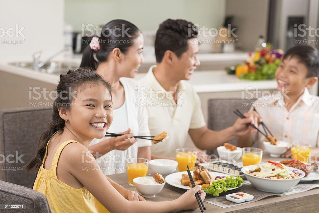Enjoying the dish stock photo