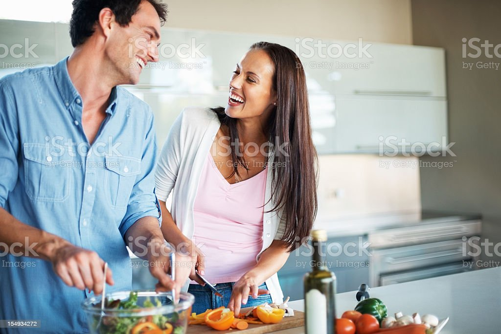 Enjoying the moment at kitchen royalty-free stock photo