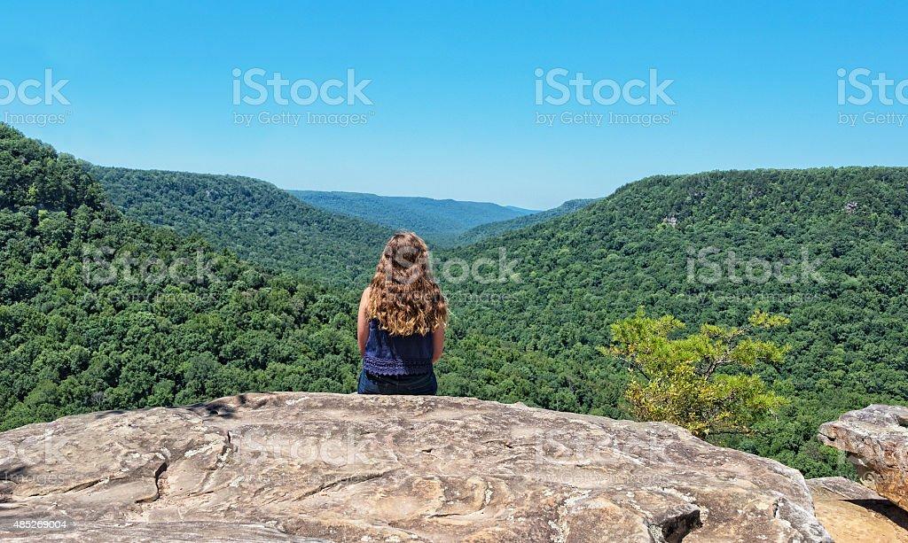 Enjoying The Mountain View stock photo