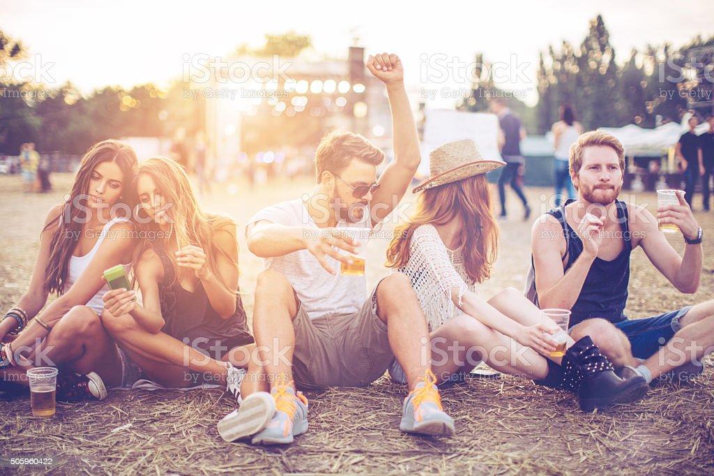 Enjoying the music festival stock photo