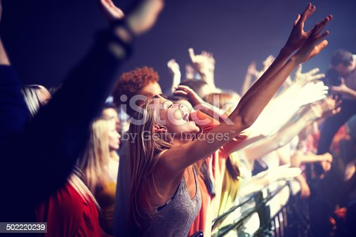 A group of people standing with their arms raised at a concert. This concert was created for the sole purpose of this photo shoot, featuring 300 models and 3 live bands. All people in this shoot are model released.