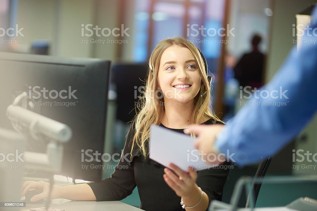 enjoying the new job stock photo