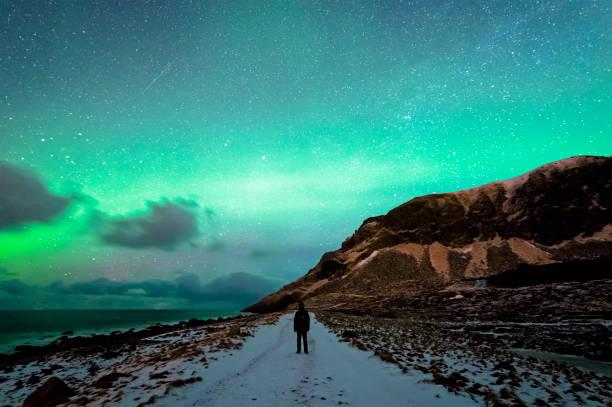 Unstad Kuzey ışıkları zevk stok fotoğrafı
