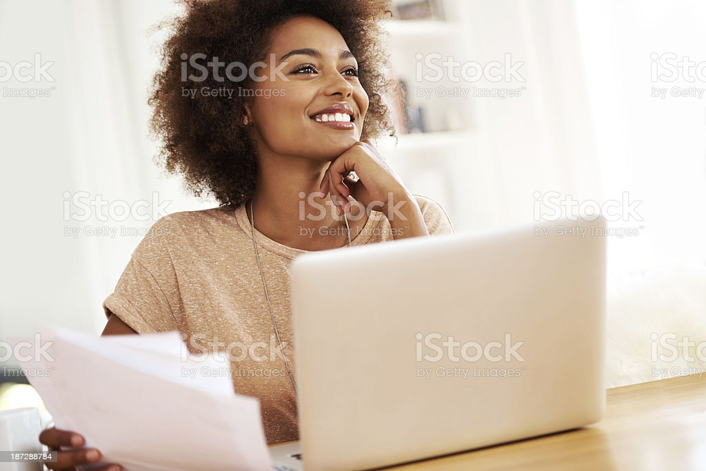 Enjoying the perks of working at home stock photo