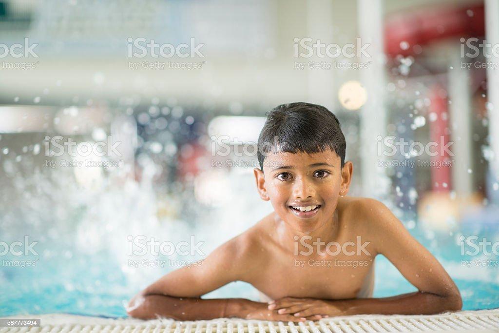 Enjoying the Public Pool stock photo