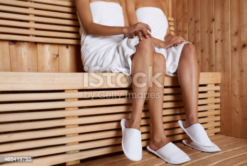 Cropped image of two friends sitting in the sauna together