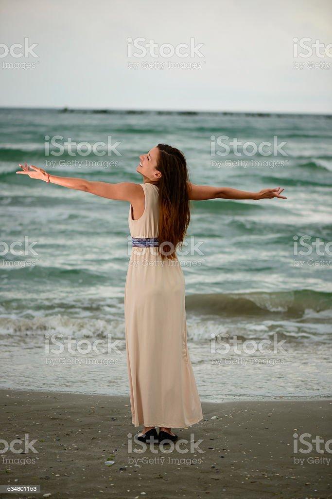 Enjoying the sea stock photo