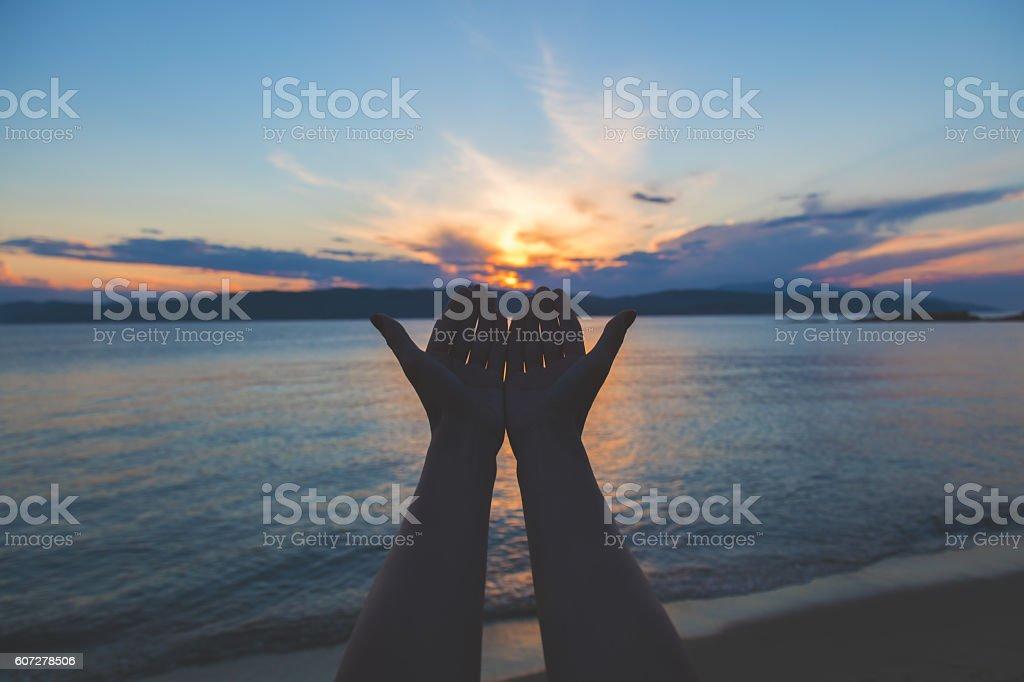 Enjoying the sea/ocean. stock photo