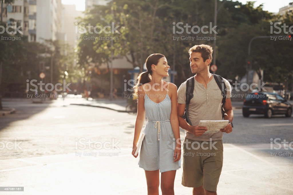 Enjoying the sights on their vacation stock photo