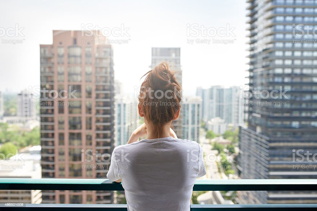 Enjoying the spectacular city views stock photo