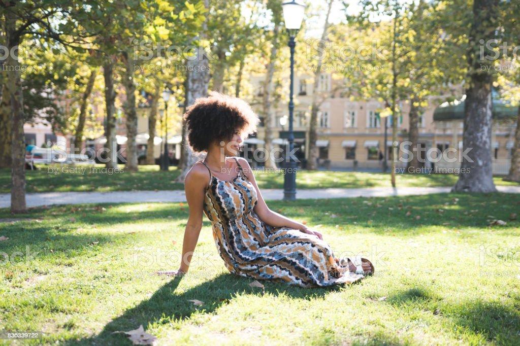 Enjoying the sunny weather stock photo