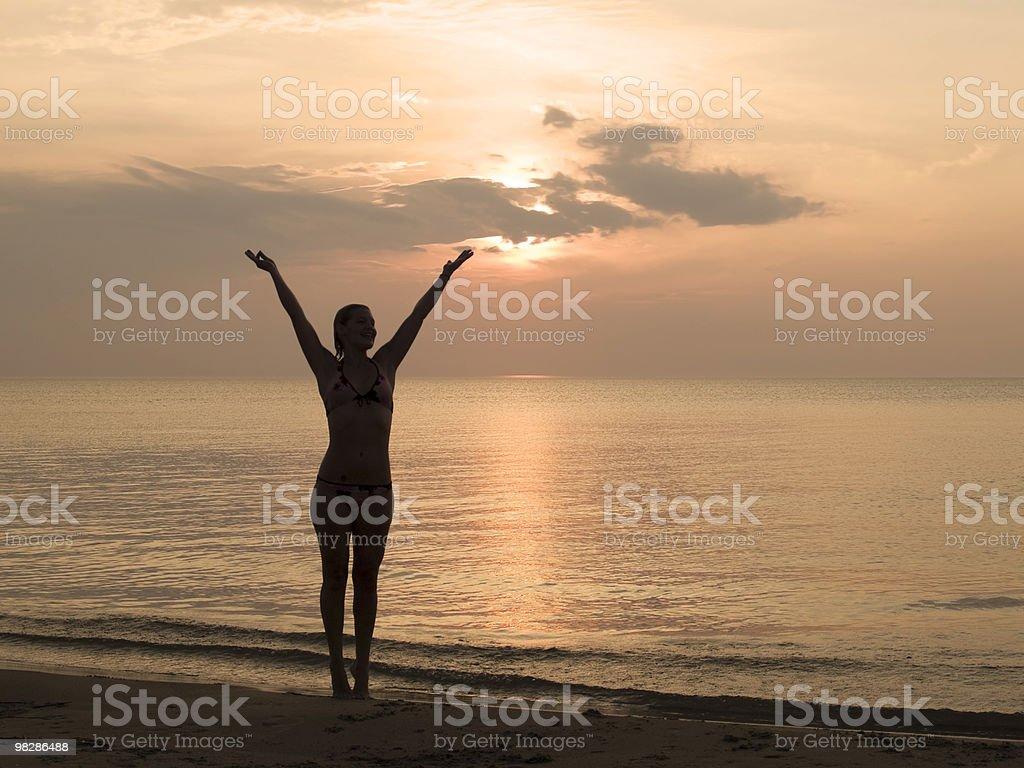Godersi il tramonto foto stock royalty-free