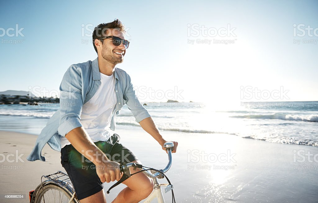 Enjoying the therapeutic feelings of the sea stock photo
