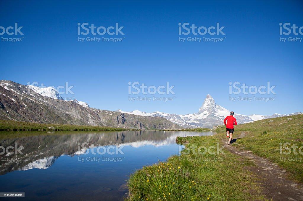 Enjoying the view of the Matterhorn on my run stock photo