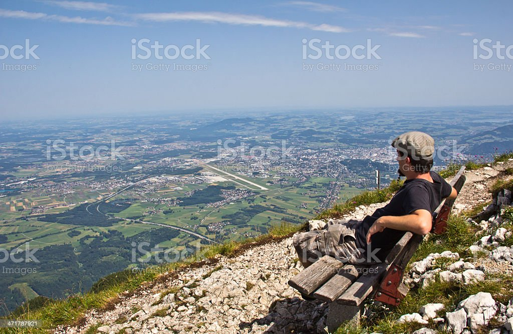 Enjoying The View On Salzburg From Top Of Untersberg royalty-free stock photo