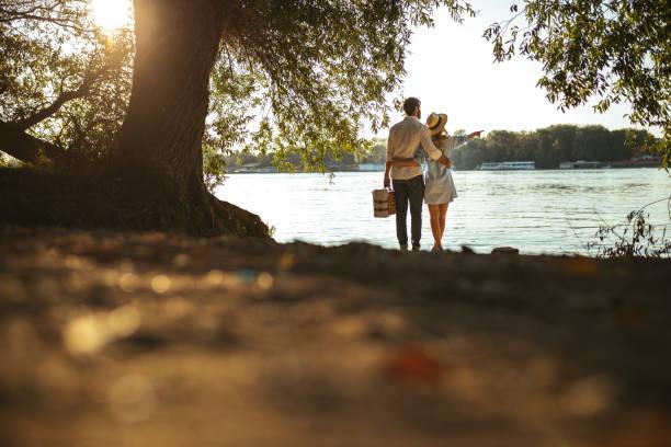 genießen sie den blick  - romantisches picknick stock-fotos und bilder