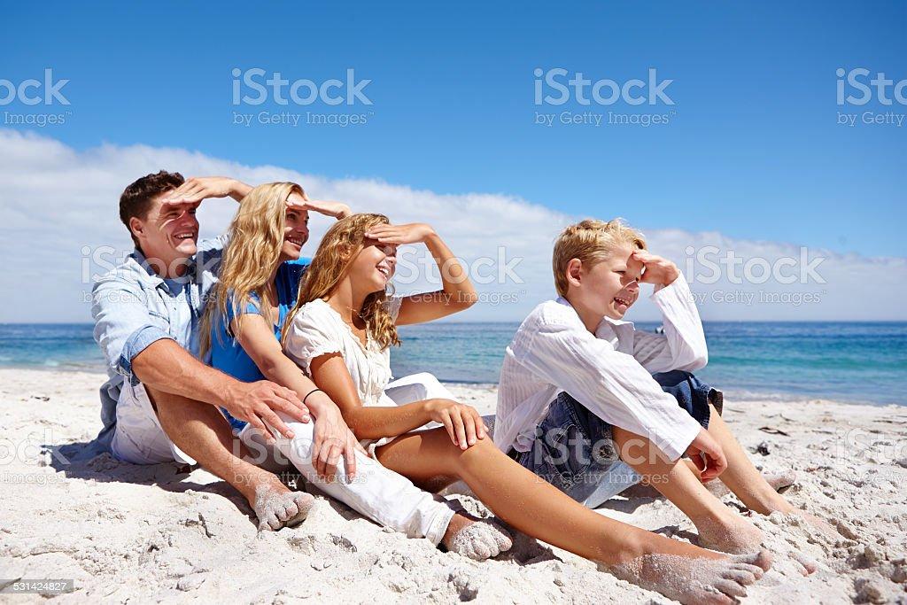Enjoying the views at the beach stock photo