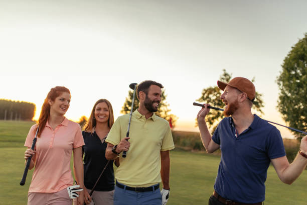 Enjoying their day of golf together stock photo